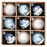 Valery Madelyn Palline di Natale 9 Pezzi 6Cm Plastic Palline di Natale Decorazioni Natalizie con Hanger Decorazioni Albero per Decorazioni Natalizie Winter Wish Theme Silver Blue Multiwrapping