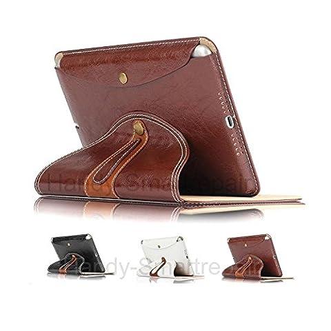COWHIDE ANTIK BUSINESS ECHTLEDER Hülle für Apple-iPad-2-3-4 Tasche mit abnehmbarem & drehbarem Backcover, sehr robust mit Hinstell- und Hinlegefunktion in Antikbraun - Von Cowhide European Jazz® (Jazz Knöpfe)
