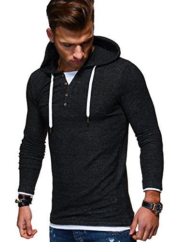 MT Styles Herren 2in1 Oversize Hoodie Pullover Kapuzenpullover Henley MT-7437 [Schwarz, M]