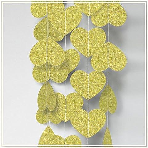 T-Mida Home,Oro a forma di cuore glitter decorazioni di fiori di carta (4m) fatto a (Fatto A Mano Fiore Di Carta Semi)