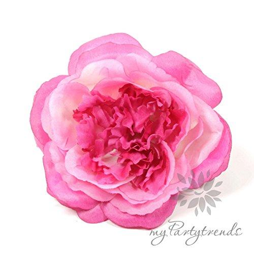 Elegante Haarrose in pink / telemagenta (Ø 12 cm; Höhe 4,5 cm) von myPartytrends. (Ansteckrose, Haarblume mit Schnabelspange, Haarschmuck)