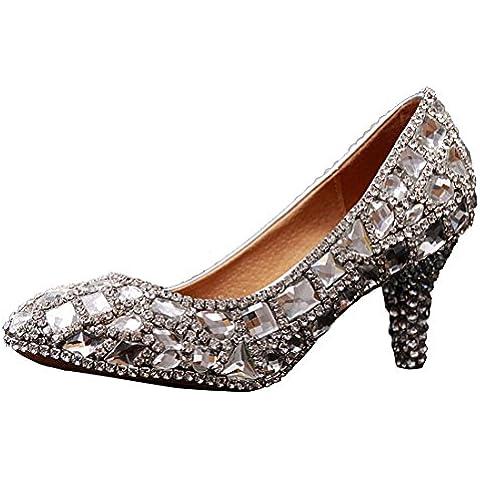 Miyoopark - Sandali con Zeppa (6 Sexy Silver Shoe)