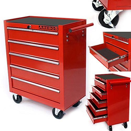 Arebos Werkstattwagen 5 Fächer rot ( zentral abschließbar,  Anti-Rutschbeschichtung,  Räder mit...