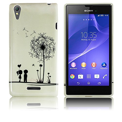 Sony Xperia Style T3 Silikon Schutz-Hülle Pusteblume weiche Tasche Cover Case Bumper Etui Flip smartphone handy backcover thematys®