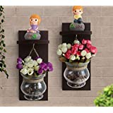 TIED RIBBONS Decorative Wooden Wall Shelf Glass Vases With Tulips And Love Figurine Showpieces For Room,Living Room,Balcony,Home