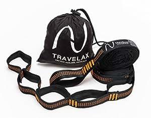 Sistema di fissaggio o cinghie di supporto per montare l'amaca con 11 lacci prefabbricati per appendere di Travelax