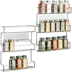 mDesign lot de 2 rangement épices à coller – range épices en métal avec trois niveaux – porte épices pratique et sans perçage – argent