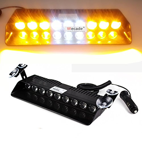 Anzene 9 LED 12W 12 V pare-brise Avertissement Light Dashboard voiture voiture d'urgence Strobe Flash Light (jaune/blanc)