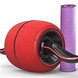 WYXFJL ab Roller Rotes Ab-Rad, automatisches Rückstoß-stummes Abdominal- Muskel-Rad-Unisexfamilien-Gewichtsverlust-Fitnessgerät ab Rad (Size : 60 cm Wide Yoga mat)