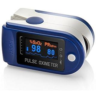 AVAX AV-50D - Fingerpulsoximeter/Pulsoximeter (Finger Pulse Oximeter) -%SpO2 (Sauerstoffsättigung des Blutes) & Herzfrequenzmesser mit OLED-Anzeige und Zubehör - BLAU