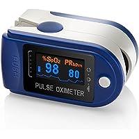 AVAX 50D - Oxymètre de pouls au doigt -% SpO2 (Saturation d'oxygène dans le sang) et moniteur de fréquence cardiaque - affichage OLED couleur avec 6 modes et 4 directions d'affichage - avec instructions, cordon et étui de transport (dans l'emballage conditionnel) - BLEU
