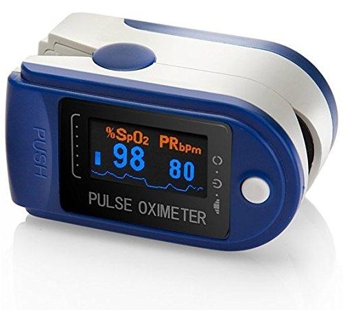 AVAX AV-50D - Fingerpulsoximeter / Pulsoximeter (Finger Pulse Oximeter) - %SpO2 (Sauerstoffsättigung des Blutes) & Herzfrequenzmesser mit OLED-Anzeige und Zubehör - BLAU
