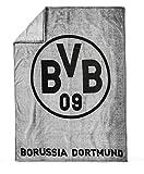 BVB Fleecedecke mit Logo, Polyester, Grau / Schwarz, 200 x 150 x 1 cm