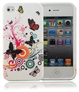 Flowers & Butterflies Gel Silicone Protective Armour Case Cover for Apple iPhone 4 By V Direct Accessories