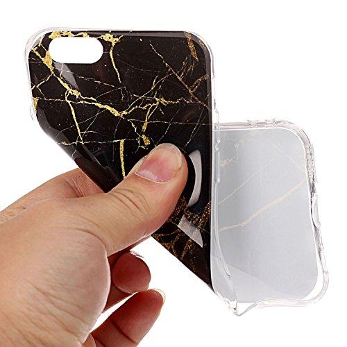 Apple iPhone 6 6S TPU Marmor-Hülle – Marmor Optik Case Schutzhülle Crystal Case mit hochwertiger Marmor Optik Marmormuster Marble Design – MOVOJA – Grün-Marmor Schwarz