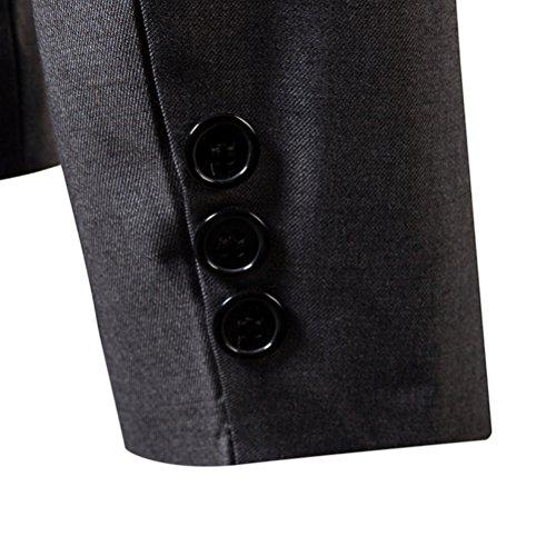 Zhhlaixing Giacca blazer da uomo Maniche lunghe Grey Slim Fit Business formale matrimonio Prom Party One Button Coat Soft Jacket Black