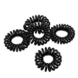 5, 10 or 25 Black or Colourful Ladies, Girls stretchy Elastic Phone Line Wire Coil Hair ponytail bands, hair ties, bobbles, gift bags by Fat-catz-copy-catz (5x black hair coils)