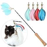 UEETEK Katzenangel Federstab mit Glocken und 4 Ersatzfedern Teleskop Katzenspielzeug