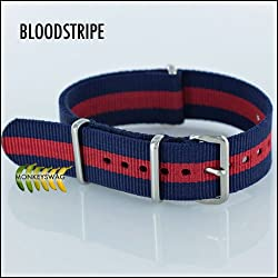 G10 NATO NYLON WATCH STRAP, BLOOD-STRIPE (16,18,20,22 & 24mm)