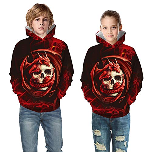 Kostüm Halloween Girl Teen - Zilosconcy Alueeu Halloween Mädchen Jungen Kostüme Sweatshirts Hoodies Teen Kinder Boy & Girl 3D Digital Print Pullover Hoodie Sweatshirt Hohe Qualität 100% Baumwolle