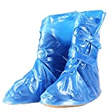 YXX- Frauen Wasserdichte Regen Schuhe Abdeckung Wiederverwendbare Schutz Rutschfeste Winddicht Stiefel Überzüge Mädchen Jungen (Farbe : Blau, größe : 28.5cm)