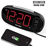 Reacher Digital Alarm Clock with Dual USB Charging Port, Sample Operation, Easy Snooze