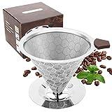 Unizooke Permanenter Kaffeefilter Edelstahl Kaffee Dauerfilter mit Ständer,Kein Papierfilter Erforderlich Wiederverwendbare Handfilter Kaffee Aufsatz für 6-10 Tassen (Ständer)