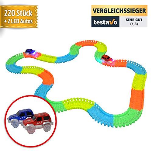 YourMate Kinderspielzeug Rennbahn mit 2 LED Rennwagen sowie 220 bunten Schienen-Teilen | Auto Spielzeug für Kinder 3 -14 Jahre Jungs & Mädchen
