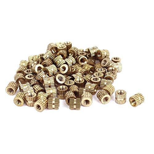 Knoten Rundmuttern - TOOGOO(R) M3x5 mm (L) -5mm (OD) Metrisch Gewinde Messing Knoten Runde Einsetzmuttern 100 Stueck