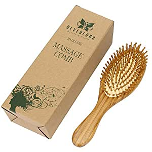 Neverland Beauty 100% Natural Bamboo Hair Brush Detangling Massage Anti-Static Hair Comb Wooden Bristle Cushioned Organic Hairbrush with Gift Box