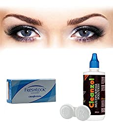 Freshlook Colors Contact Lens with Lens Case & Solution - 2 Pieces (-6.5,Blue)