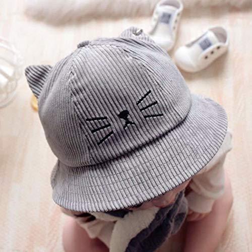 mlpnko Neue Kinder Cord Hut 1-3 Jahre alte Männer und Frauen Baby süße Katze Fischer Hut schwarz einstellbar