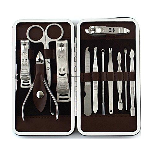 HQdeal 12-Pieces Cura del chiodo personale set Manicure e Pedicure Viaggi & Grooming kit (Cura personale)