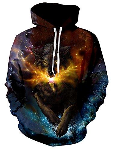 mens Wolf Hoodies Personalisierte 3D Galaxy Wolf Printed Neuheit Pullover Mit Kapuze Langarm Sweatshirt Nap Lined M ()