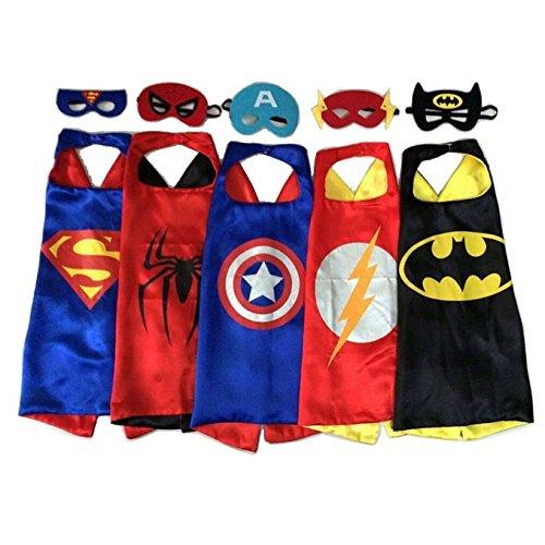 RioRand Comics Cartoon Heros Dress Up Costumes 5 Satin Capes with Felt Masks