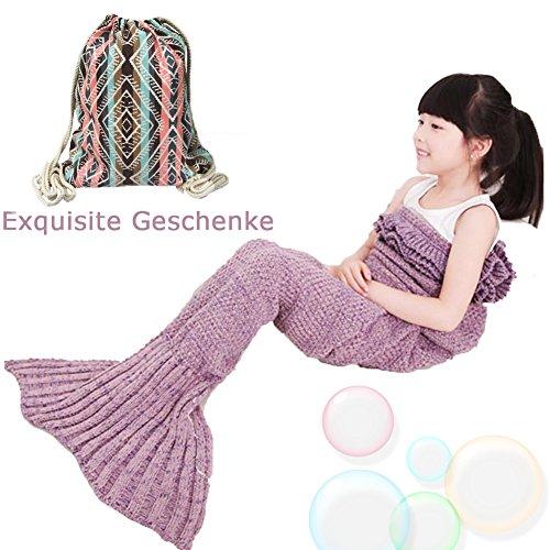 MAGFLY Kinder Style Handgemachte Gestrickte Meerjungfrau Schwanz Decke Sehr Warme Weich Sofa Quilt Strickmuster Nixeendstück Perfekt Geschenk für Kinder und Teenager (Rosa)