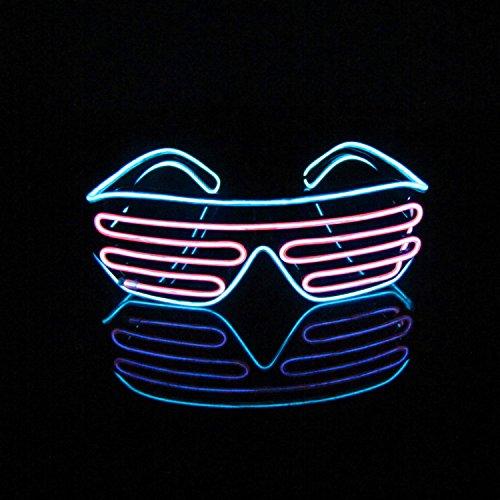 Lerway EL Wire LED Party Brille 2 Bicolor Drahtbrille Spass Partybrillen Bunt Gitterbrille Leuchtstab Brillen mit Batterie Box für Karneval Rave, Nachtclubs Fest, Geschenk (Rosa + Hellblau)