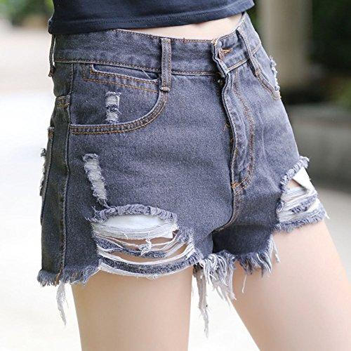 Femmes Taille Haute Short en Jean Shorts Hot Pants Denim Déchirés Noir