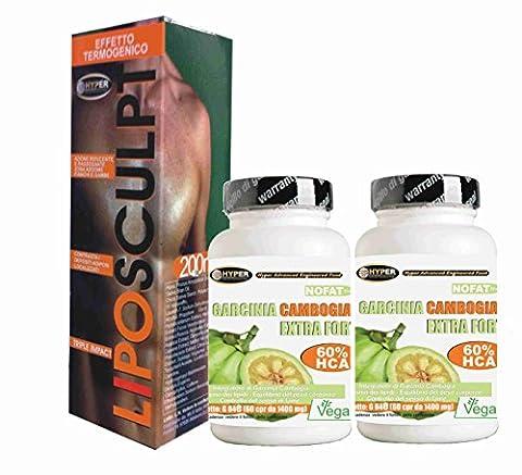 suppléments diététiques 3 box | 1 thermogénique crème brûler les graisses Lipo Sculpt 200 ml | 2 box Garcinia Cambogia | Fat Burner - favorise la perte de poids | 60 comprimés | 1000 mg par comprimé! 60% de HCA | Fat Burning puissant - lutte contre la faim - réduit appétit | Il aide à drainer | 1 paquet 2 mois de traitement | Comprimés sans gluten - 100% naturel et végétalien
