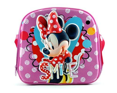 Disney minnie borsa porta pranzo merenda termico in 3d con tracolla 25x25x7 cm fucsia