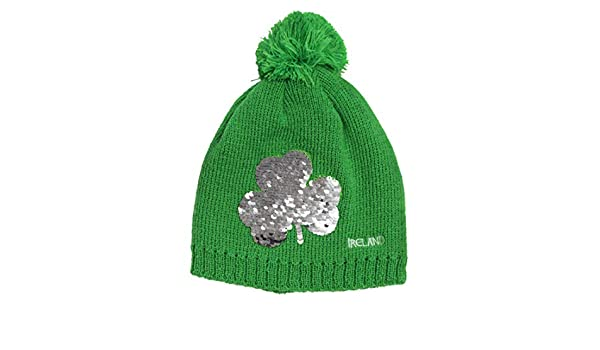 d1d7b1af0e2 Carrolls Irish Gifts Emerald Green Kids Knitted Bobble Hat with Sequins  Designed Shamrock  Amazon.co.uk  Clothing