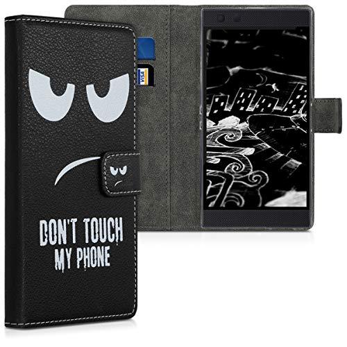kwmobile Razer Phone 2 Hülle - Kunstleder Wallet Case für Razer Phone 2 mit Kartenfächern & Stand - Don't Touch My Phone Design Weiß Schwarz