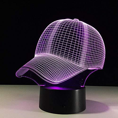 CFLEGEND3D Nachtlicht Baseball Cap (Touch + Fernbedienung) LED IllUSBion Tischlampe Flutlicht weiches Licht Statue Kinderzimmer Schlaf Licht dekorative Lichter Party Lichter 7 Farbe USB -