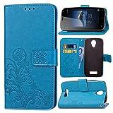 Schutzhülle Für DOOGEE X3 , pinlu® Handyhülle Hohe Qualität PU Ledertasche Brieftasche Mit Stand Function Innenschlitzen Design Glücklich Klee Muster Blau