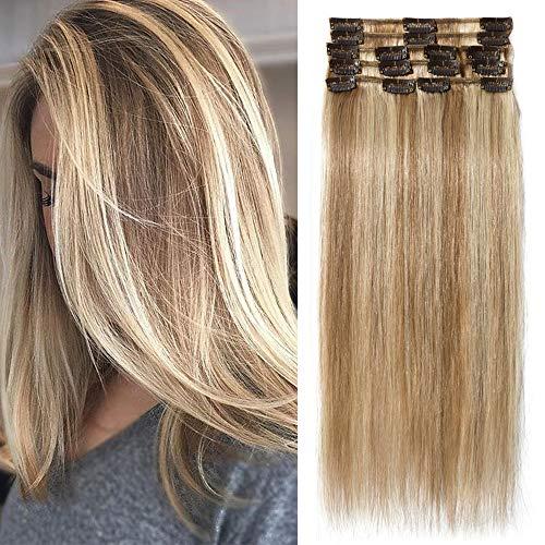 """TESS Echthaar Extensions Clip in Ombre Remy Haar Extensions guenstig Haarverlängerung 18 Clips 8 Tressen Lang Glatt, 16""""(40cm)-65g #12/613 Hellbraun/Blond"""