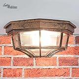 Nostalgische Deckenleuchte für Außen Außenlampe in rot schwarz antik / IP44 / Aludruckguss & Glas / E27 bis 60W / rustikale Leuchte Deckenlampe Hof Garten Terrasse