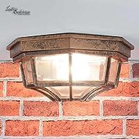 Palazzo Int–Lámpara de techo para exterior lámpara de exterior en rojo negro antiguo/IP44/aluminio fundido & Cristal/E27hasta 60W/rústico Lámpara de techo lámpara Patio Jardín Terraza