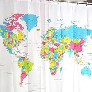 Hrph 180 * 180 cm Nueva creativo Mapa del Mundo ducha Baño de poliéster impermeable baño cortina