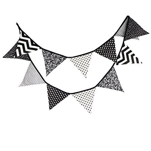 Yiuswoy Baumwolle Wimpelgirlande Banner Wimpelkette zum Aufhängen Außen Hochzeit Weihnachten Bunting - Schwarz Weiß