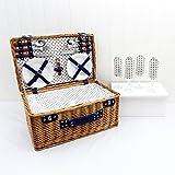 Fine Food Store - Cesta de picnic para 4 personas con cubiertos, platos, vasos y otros accesorios (mimbre)